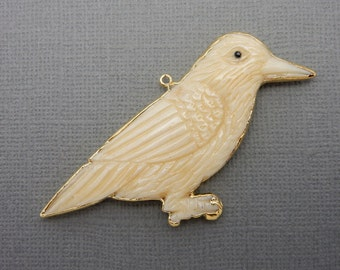 Carved Bird Bone Pendant Electroplated 24k Gold Edge and Bail (G-478)