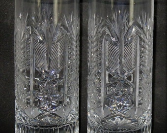 Two Vintage Whisky Glasses Czech Bohemia Cut Crystal Glass