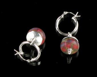 Silver Hoop Earrings, Red Silver Dangle Earrings, Modern Red Earrings, Unique Gift for Girlfriend, Valentine Gift for Her, Mom, Friend Gift