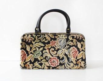 60s Tapestry Purse • Vintage Tapestry Bag • Vintage Floral Bag • Carpet Purse • Vintage Tapestry Purse • Large Tapestry Bag | B1036