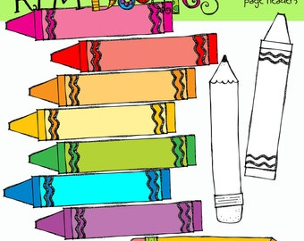 KPM Crayons and Pencil page headers digital clipart