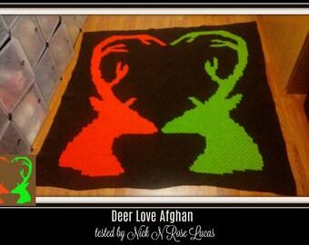 Deer Love Afghan 3 colors, C2C Graph, Crochet Pattern, Deer Love graph, Deer Love c2c graph, Deer afghan crochet pattern