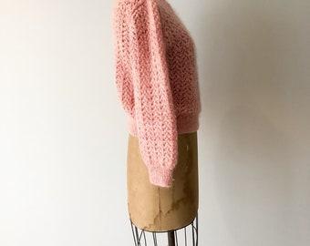 Lemonade Pink Mohair Pullover, Vintage Sweater, Knitted Mohair Sweater, Womens Vintage, Sweater, Made In New Zealand, SZ 4-8 US 6-10 UK