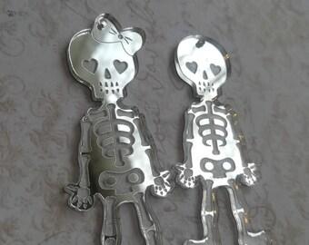 Sugar Skull Couple Lovers Bride Groom Wedding Cute Kawaii Pendant charms Lasercut Acrylic Sugarskull gothic goth punk day of the dead 1 pair
