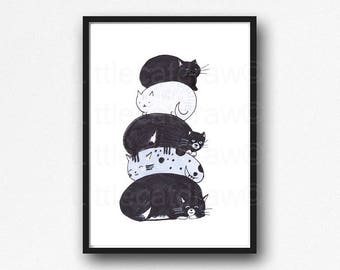 Cat Print Cat Stack Print Cat Illustration Painting Print Wall Art Bedroom Wall Decor Cat Lover Gift Cat Stack Black and White Cat Print