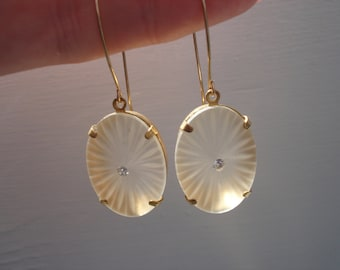 1920's Art Deco Vintage Etched Lalique Inspired Czech Crystal Frosted Camphor Glass Gold Earrings