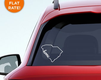 """South Carolina State """"Home"""" Decal - SC Home Car Vinyl Sticker - Add a heart over Charleston, Columbia, Mount Pleasant, Rock Hill, Greenville"""