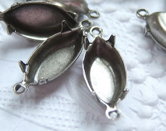 12 -Antiqued silver 15x7mm navette settings closed back with two rings - TT300