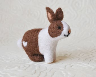 Rabbit, needle felted barnyard animal fiber art sculpture toys