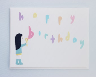 Happy birthday bubbles - papercut collage card