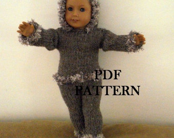"Knit Hoodie and Pants PDF Pattern for American Girl Doll 18"" Doll Knit  Pattern Pants"