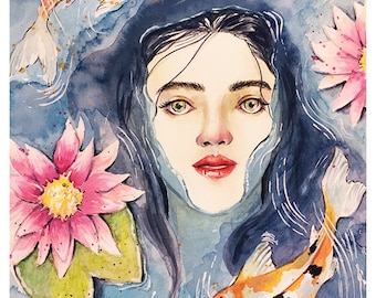 Calming Silence, Watercolor painting print, water, goldfish, waterlily, leaves, flowers