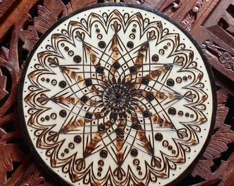 "6.5"" Lotus Mandala Wall Hanging - Pyrography Art, Sacred Geometry Art, Spiritual Wall Art, Bohemian Wall Art, Mandala Wall Art"