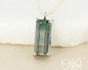Silver Teal Green and Blue Tourmaline Necklace - Rectangular Cut - 925 Sterling Silver
