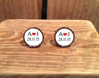 Wedding Initials and Date Cufflinks - can be fully personalised.