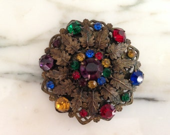 Victorian Edwardian Chech Filigree Multi Colored Brass Brooch Pendant Pin