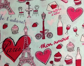 SALE - One Half Yard of Fabric Material - French Love, Paris