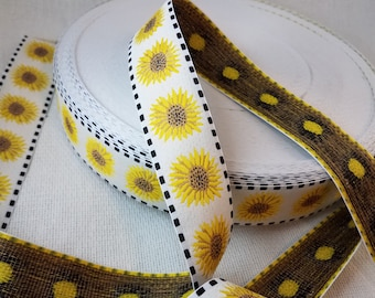 Sunflower Jacquard Fabric Trim  1 1/2 inch wide sold by the yard