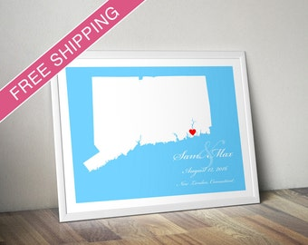 Custom Connecticut Location and Map Print - Personalized Wedding Gift, Housewarming Gift, Engagement Gift