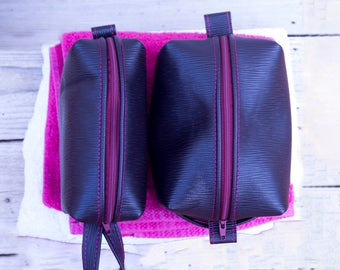 Aubergine embossed Leather Toiletry Bag / Wash Bag / cosmetic bag natural suede interior choice of two or a set