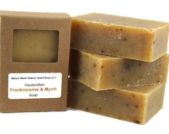 Frankincense and Myrrh Bar Soap 5.5 oz. All Natural, Handmade, Essential Oils, Cold Process