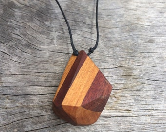 Hand faceted crystal recycled australian timber necklace