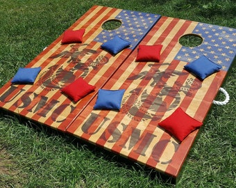 Stained USMC Flag Cornhole Set (standard Top) Folding Legs And A Full Set Of