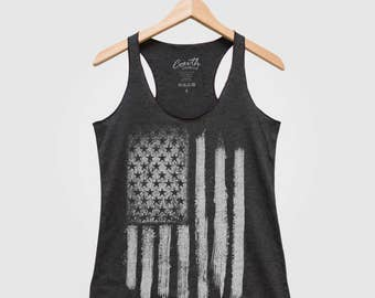 Merica Tank Top Bella Canvas Triblend Racerback Tank Top Hand Screen Print