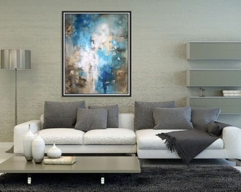 Modern Painting Original Large Abstract Art Brown Blue Teal Wall Art/ Acrylic Painting On Canvas/ Blue Abstract Painting Large - Christovart