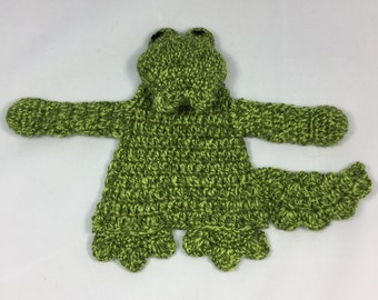 Crocodile Snuggly / Ragdoll / Comforter / Baby toy. New Baby crochet gift.