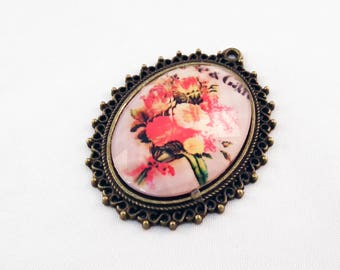 PU04 - charm pendant flowers frame Bronze faceted glass Cabochon