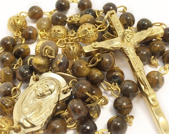 Catholic Rosary Beads, Tiger eye style bead rosary, gold plated rosary, brown rosary, baptism, first communion, confirmation five decade