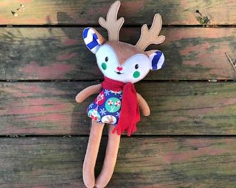 Reindeer Softie Toy - Boy Reindeer - Reindeer with Scarf - Handmade - Plush Reindeer - Stuffed Animal - Doll- Christmas Decor - Gift