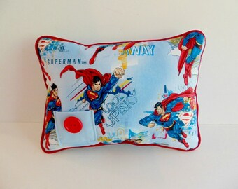 Superman Tooth Fairy Pillow, Super Hero Tooth Fairy Pillow, Superman Decor, Boys Tooth Fairy Pillow, Boys Blue Pillow, Can Be PERSONALIZED