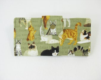 Cat Wallet, Womens Wallet, Ladies Bifold Clutch, Handmade  Wallet