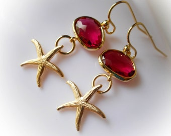 Starfish Earrings in gold ruby red glass drop earrings gold framed ruby jewelry for women coastal aquatic beach summer fashion gift for her