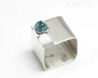 Blue zircon ring, Square rings for women, Wide band ring, RAW gemstone ring