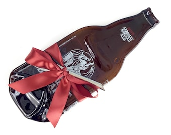 Large Arrogant Bastard Oaked Ale Melted Beer Bottle Cheese Tray or Spoon Rest, Ale Smith San Diego, Unique Gift for Him, Groomsmen Gift