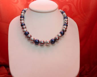 Blue Lapis Luzuli and Real White Pearl Necklace