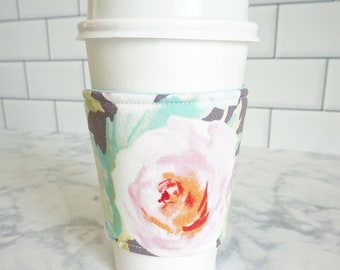 Reusable Coffee Sleeve-Watercolor Floral Print