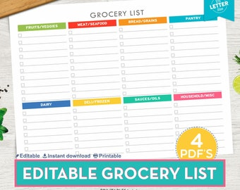Grocery List printable, Shopping List, Printable Grocery List, Printable Shopping List, Grocery Checklist, Shopping Checklist
