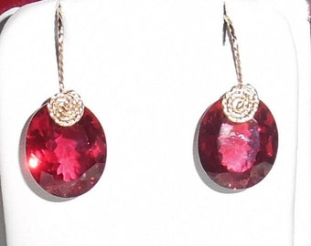 27 cts Natural Oval Madagascar Red Ruby gemstones, 14kt yellow gold Pierced Earrings