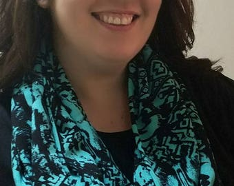 Mint green and black abstract print polyester crepe infinity scarf