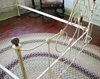 Antique Double Full Bed Cast Iron with Brass Rosettes Ornate Art Nouveau Design Bowed Foot