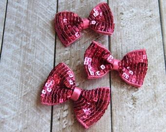 """Set of 3 2.75"""" Pink Sequin Bow Ties - For DIY Headbands & Accessories"""