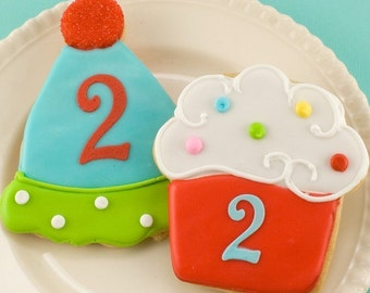 Cupcake or Party Hat Cookies - 24 Decorated Sugar Cookie Favors
