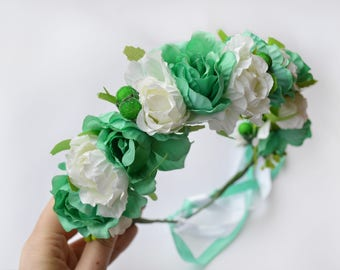 Turquoise flower crown / Wedding headband / Flower wreath