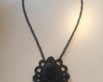 Midnight black rose necklace
