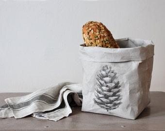 Bread basket, Paper bag storage,Pine Cone print, Woodland, Minimalistic, Nordic, Stylish storage, organized home, Pine cone print