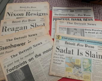 Historic Newspaper Collection - Kennedy - Elvis-Princess Diana - Reagan- Nixon - and more